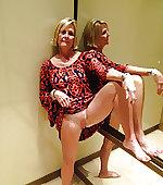 wife blonde flashing