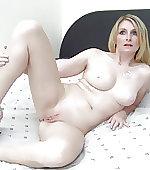 Spreading her legs