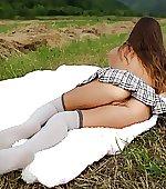 In kneesocks